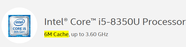 Intel i5 8350U Static RAM